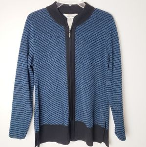 Exclusively Misook Blue Striped Cardigan Jacket XS
